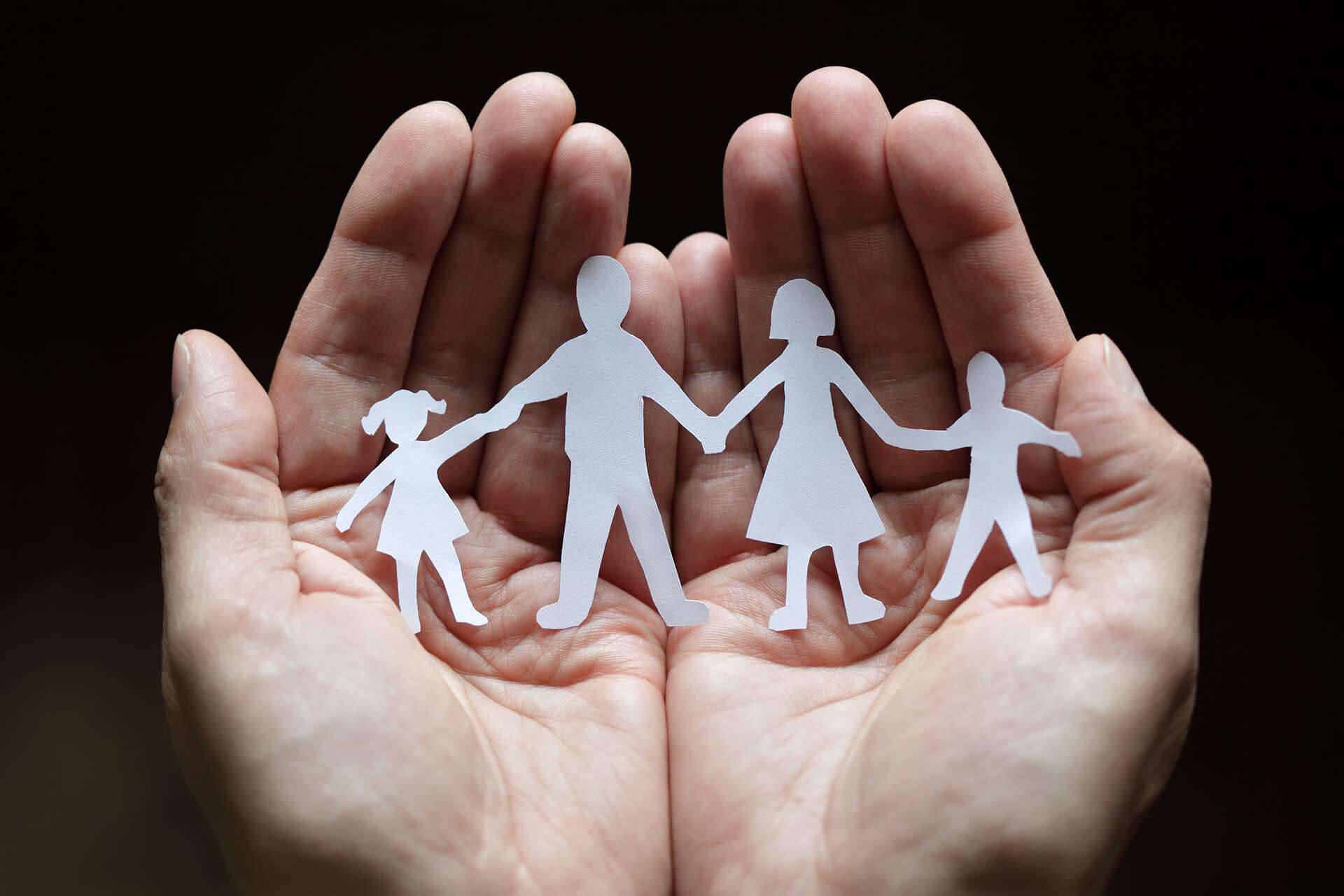 Paper cut out of a happy family