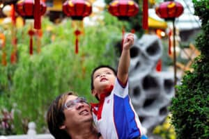 father and son celebrating lunar new year